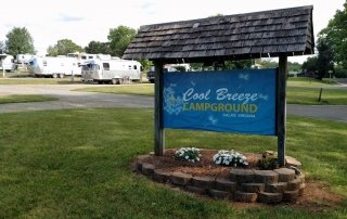 Cool Breeze Campground front entrance sign