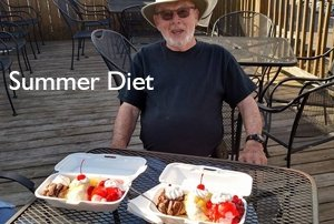 Summer diet - ice cream topped with cherries