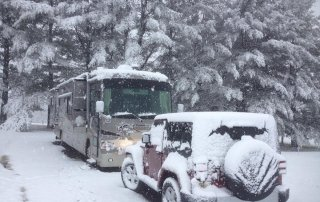 Winter snow at Cool Breeze Campground