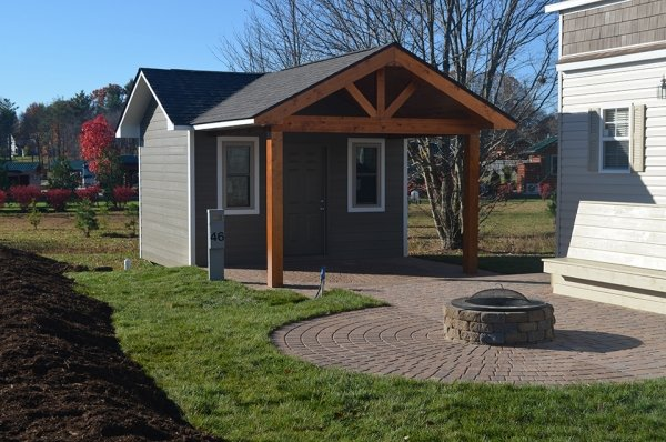 Front of storage building at a park home
