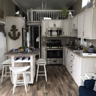 Park home antique white kitchen