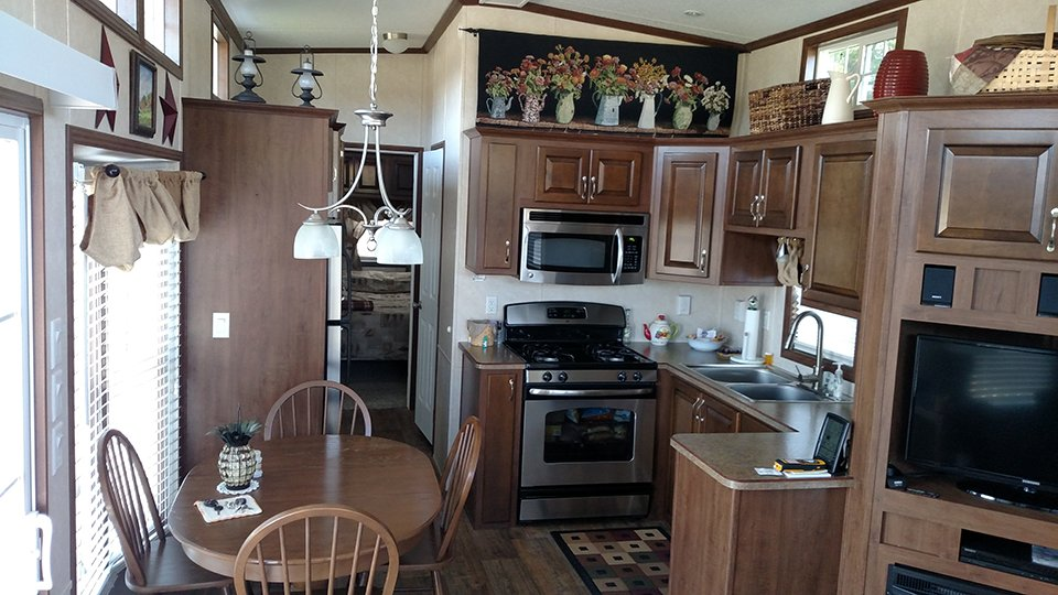 Interior view of kitchen in a park home