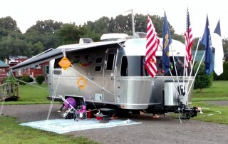 Camper decked out with flags for the 4th of July